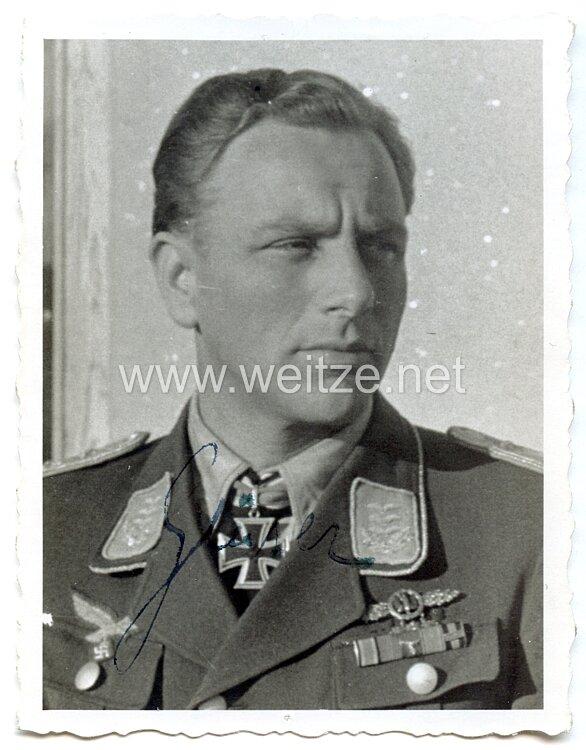 Luftwaffe - Originalunterschrift von Ritterkreuzträger Hauptmann Alexander Gläser