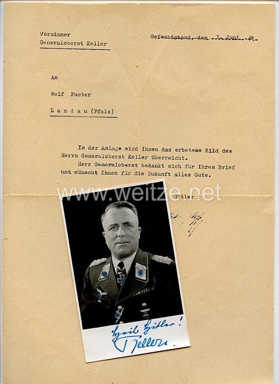 Luftwaffe - Originalunterschrift von Ritterkreuzträger General der Flieger Alfred Keller