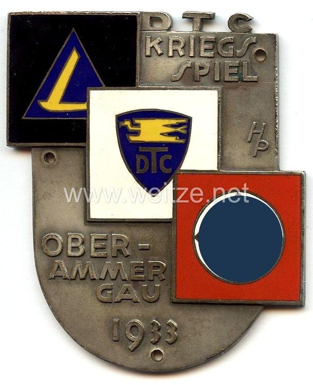 """III. Reich - nichttragbare Teilnehmerplakette - """" DTC Kriegsspiel Oberammergau 1933 """""""