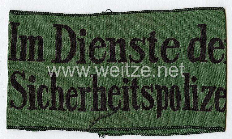 """Polizei Armbinde für Zivilangestellte """"Im Dienste der Sicherheitspolizei"""""""