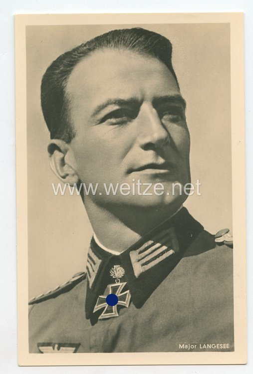 Heer - Portraitpostkarte von Ritterkreuzträger Major Langesee