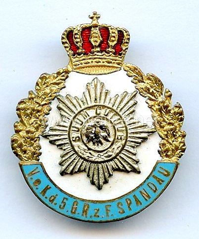 Preußen großes Ehrenzeichen Verein der ehemaligen Angehörigen5. Garde-Regiment zu Fuß Spandau