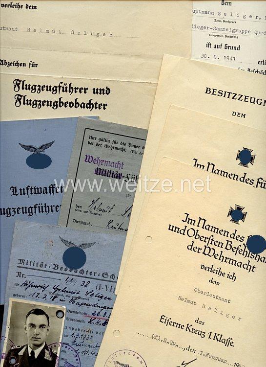 Luftwaffe - Dokumenten- und Fotogruppe für einen späteren Hauptmann der Frontflieger-Sammelgruppe Quedlinburg