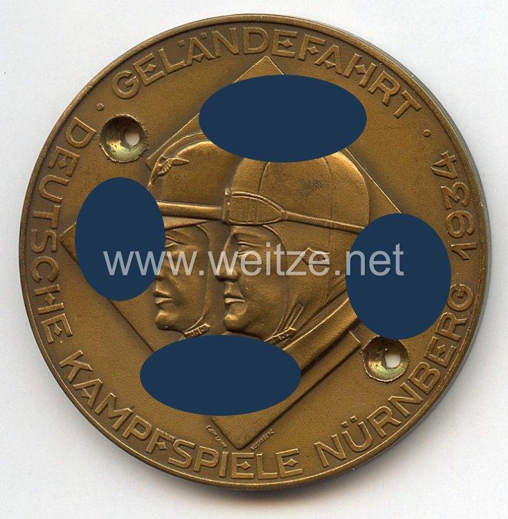 """NSKK / DDAC - nichttragbare Teilnehmerplakette - """" Deutsche Kampfspiele Nürnberg 1934 - Geländefahrt - Motorräder mit Beiwagen """""""