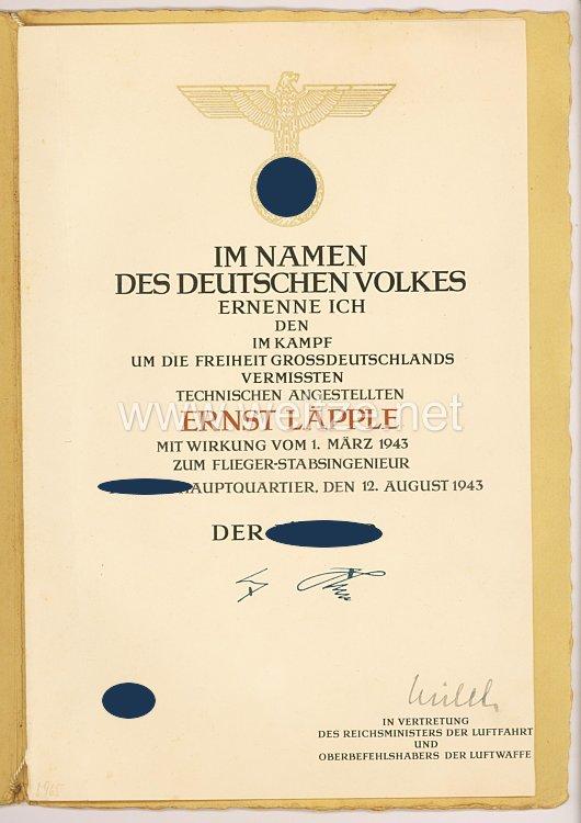 Luftwaffe - Ernennungsurkunde für einen im Kampf um die Freiheit Grossdeutschlands vermissten Technischen Angestellten
