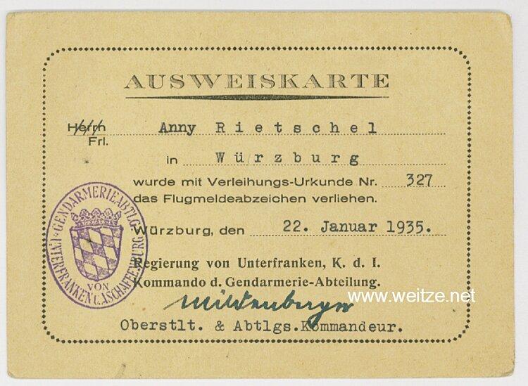 III. Reich - Kommando der Gendarmerie-Abteilung von Unterfranken und Aschaffenburg - Ausweiskarte