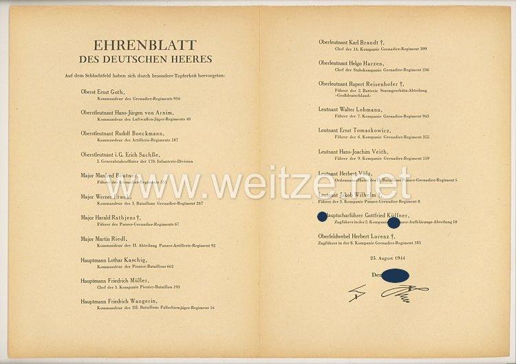 Ehrenblatt des deutschen Heeres - Ausgabe vom 25. August 1944