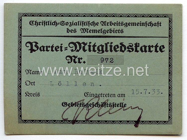 III. Reich - Christlich-Sozialistische Arbeitsgemeinschaft des Memelgebietes - Partei-Mitgliedskarte