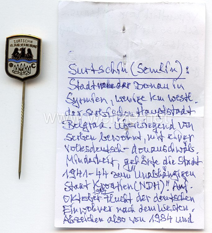 Surtschin in Syrmien - Erinnerungsabzeichen zur 40 jährigen Vertreibung von 1984