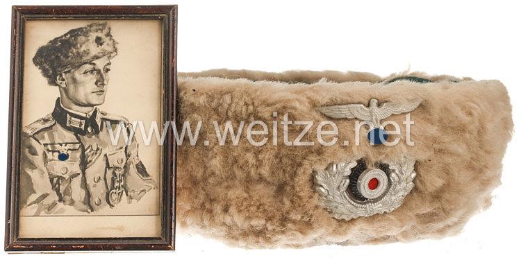 Wehrmacht Pelzmütze Papacha für einen deutschen Offizier des Rahmenpersonals bei den Don Kosaken