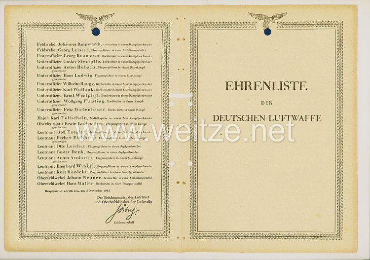 Ehrenliste der Deutschen Luftwaffe - Ausgabe vom 2. November 1942