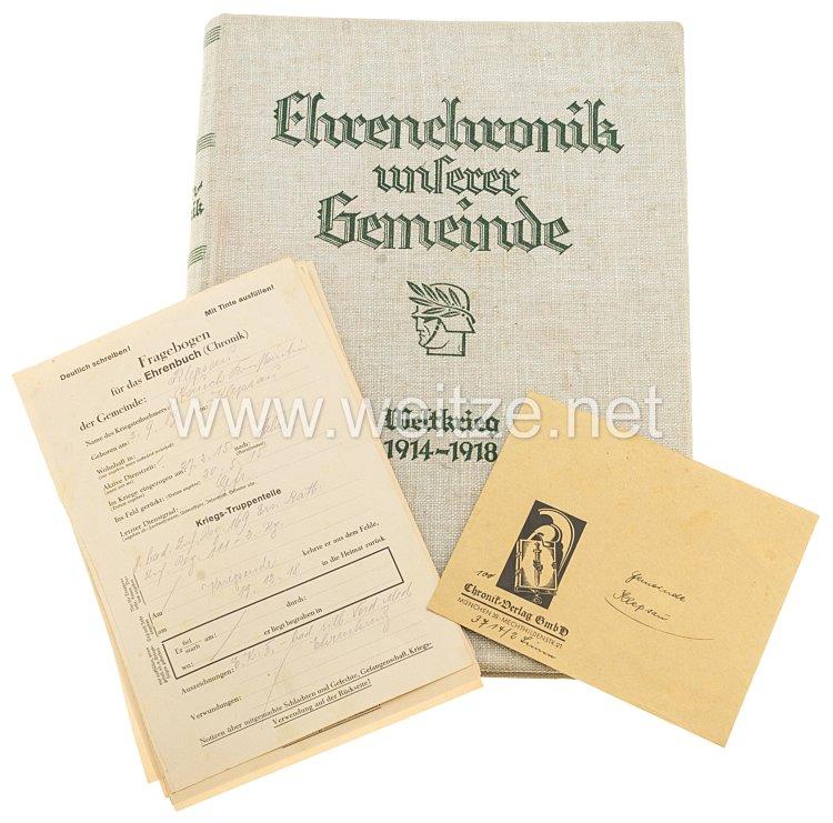 Ehrenchronik unserer Gemeinde / Weltkrig 1914 - 1918