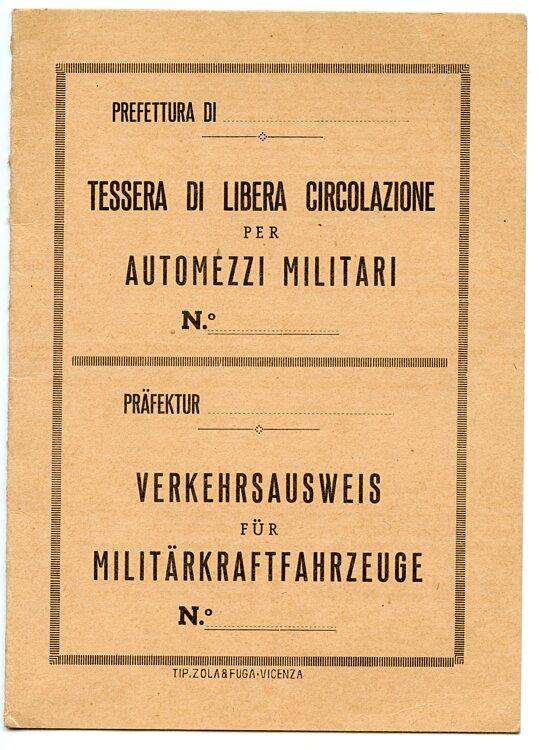 III. Reich - Italienische Wehrmacht - Verkehrsausweis für Militärkraftfahrzeuge