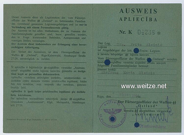 Waffen-SS - Lettische Freiwilligen-Legion - Ausweis der Waffen-SS