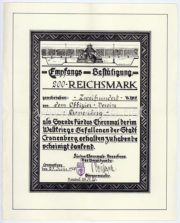 Ehrenmal der im Weltkriege Gefallenen der Stadt Cronenberg - Schmuckurkunde