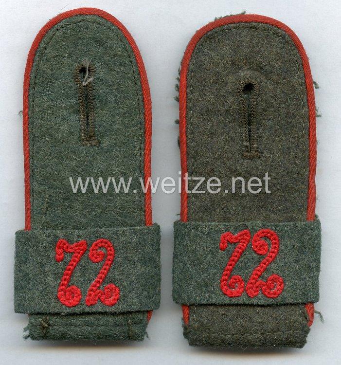 Wehrmacht Heer Paar Schulterklappen für Mannschaftenim Artillerie Rgt. 72