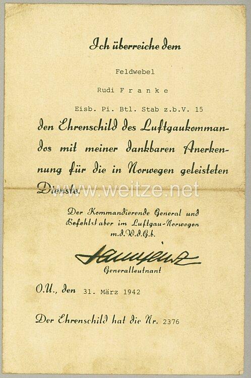 Verleihungsurkunde zum Ehrenschild des Luftgaukommandos Norwegen