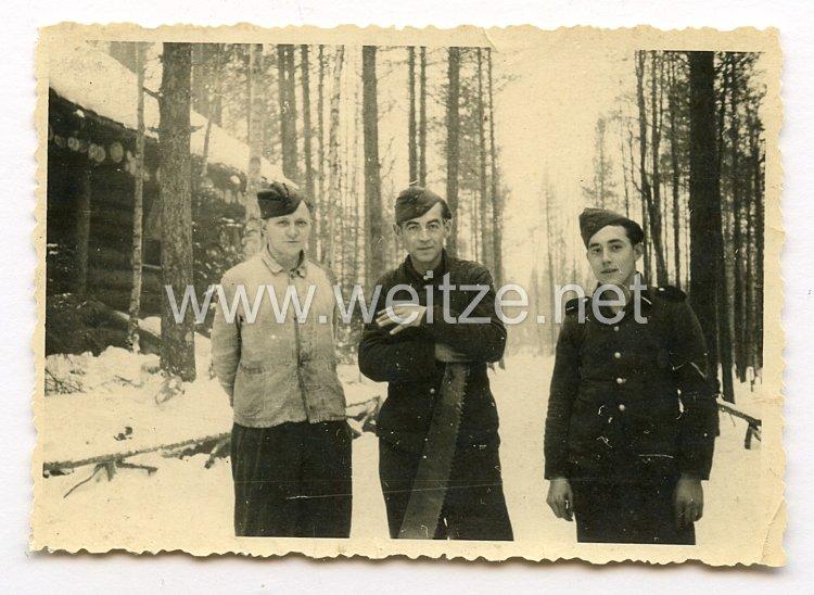 Waffen-SS Foto, SS-Soldaten beim Häuserbau