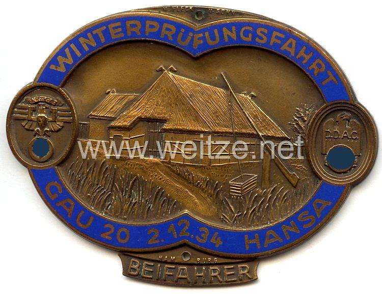 """NSKK / DDAC - nichttragbare Teilnehmerplakette - """" Winterprüfungsfahrt Gau 20 Hansa 2.12.1934 Beifahrer """""""