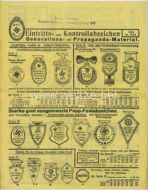 III. Reich - Verkaufsliste 174 A der Firma Rudolf Kübsch für Tagungsabzeichen, etc.