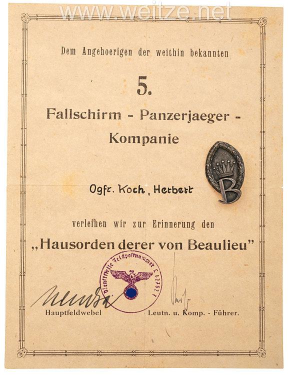"""Luftwaffe Abzeichen der 5.Fallschirm-Panzerjaeger-Kompanie """"Hausorden derer von Beaulieu"""""""