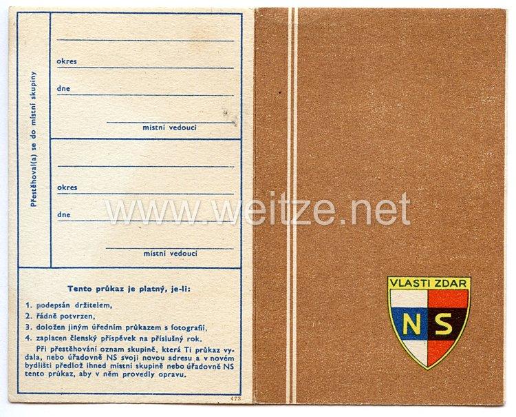 III. Reich - Tschecheslowakei - Narodni Sourucenstvi ( NS ) - Mitgliedsausweis für eine Frau des Jahrgangs 1872