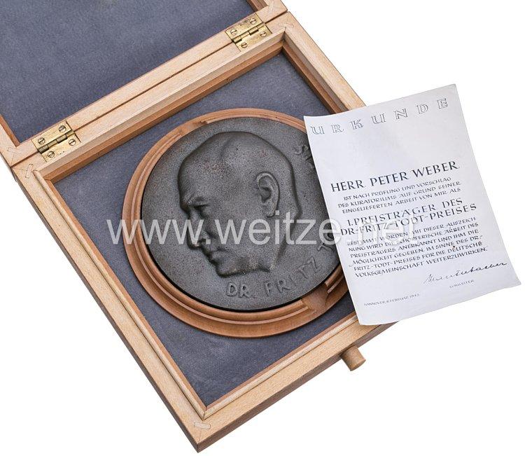 Dr. Todt Preis aus dem Besitz von Ing. Peter Bauer, gestiftet von Gauleiter Lauterbacher, NSDAP-Gau Süd-Hannover-Braunschweig