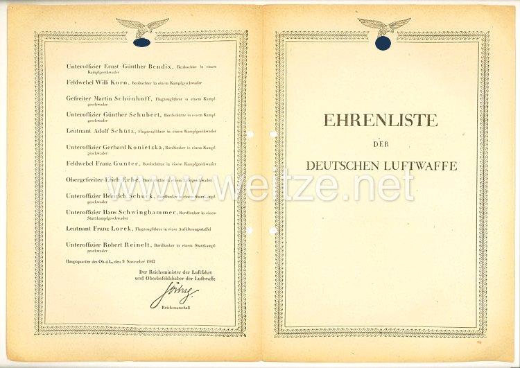 Ehrenliste der Deutschen Luftwaffe - Ausgabe vom 9. November 1942