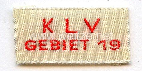Kinderlandverschickung (KLV) Gebiet 19 Kleideretikett