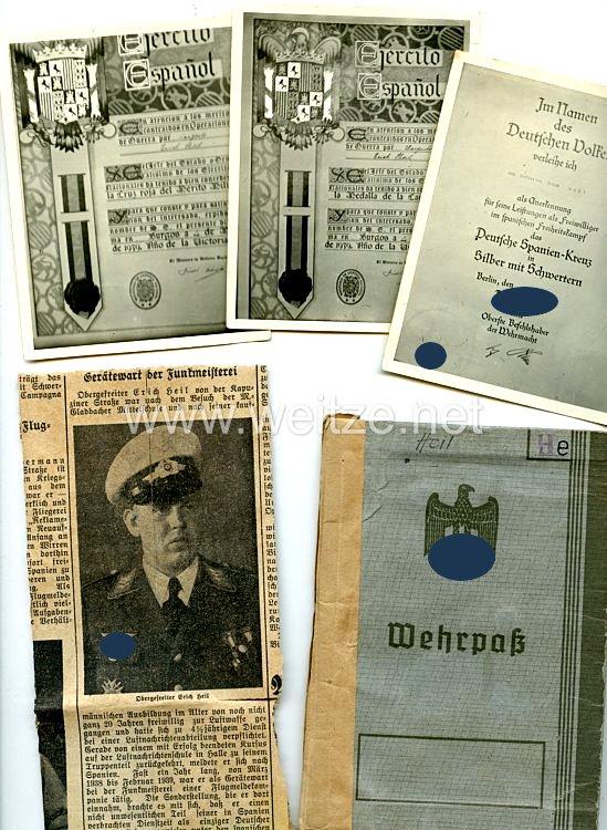 Luftwaffe - Dokumenten- und Fotogruppe des Deutschen Spanienkreuz in Silber mit Schwertern Träger Oberfeldwebel Erich Heil