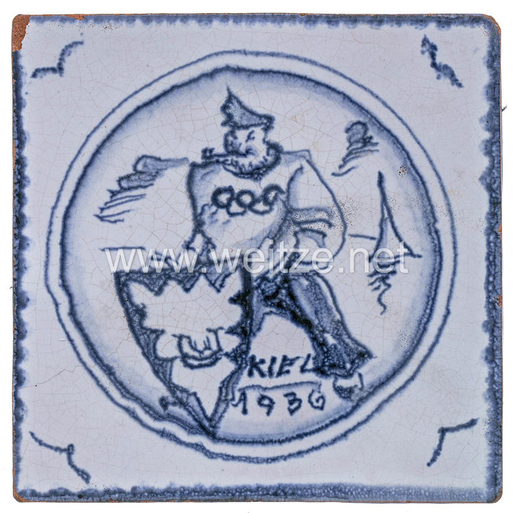 XI. Olympischen Spiele 1936 Kiel Segelwettbewerbe - Kachel als Erinnerungsstück