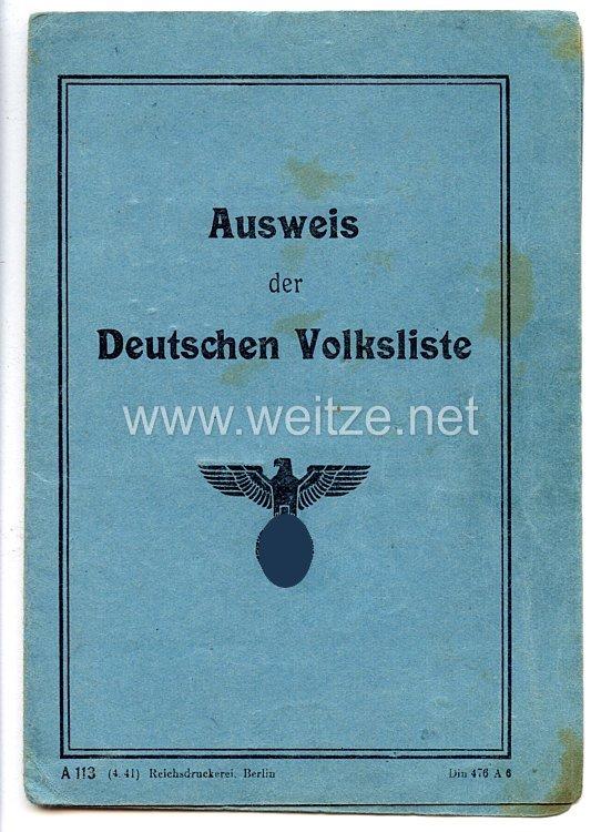 III. Reich - Ausweis der Deutschen Volkslistefür eine Frau des Jahrgangs 1894 aus Narzym/Polen