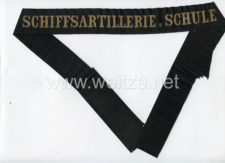 "Kaiserl. Marine Mützenband ""Schiffsartillerie-Schule"" in Gold"