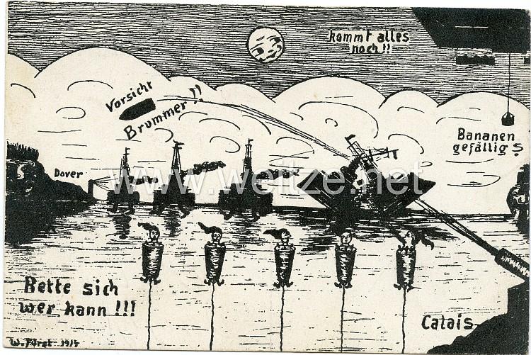Kaiserliche Marine - humoristische Propaganda-Postkarte