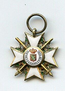 Sachsen Königreich Zivil-Verdienstorden Ritterkreuz 1. Klasse mit Schwertern - Miniatur 19 mm