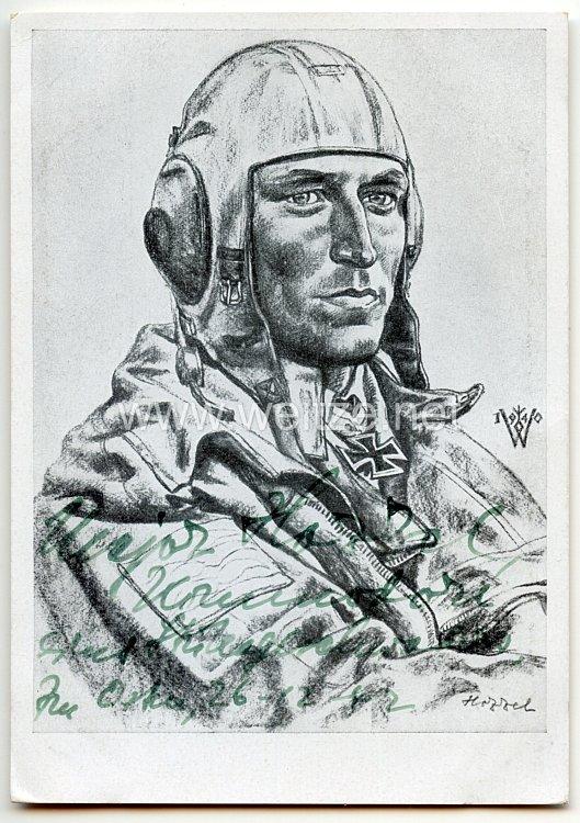 Luftwaffe - Originalunterschrift von Ritterkreuzträger Hauptmann Paul-Werner Hozzel