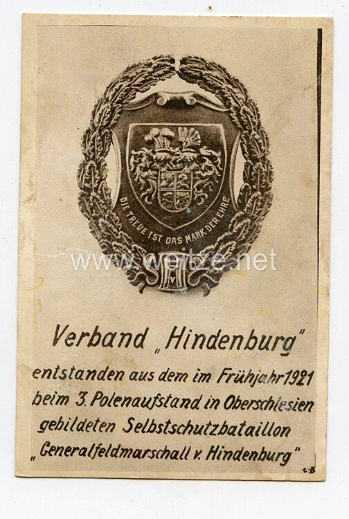 """Freikorps - Postkarte des Verbandes """" Hindenburg """""""