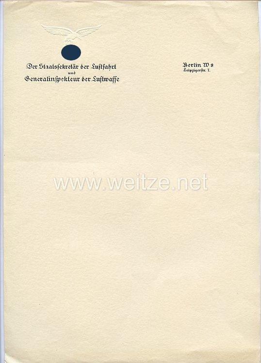 Luftwaffe - Generalfeldmarschall Erhard Milch - sein persönliches Briefpapier