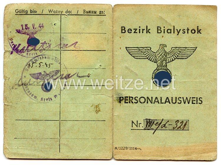 III. Reich / Besetzte Ostgebiete - Bezirk Bialystok - Personalausweis für eine Frau des Jahrgangs 1909
