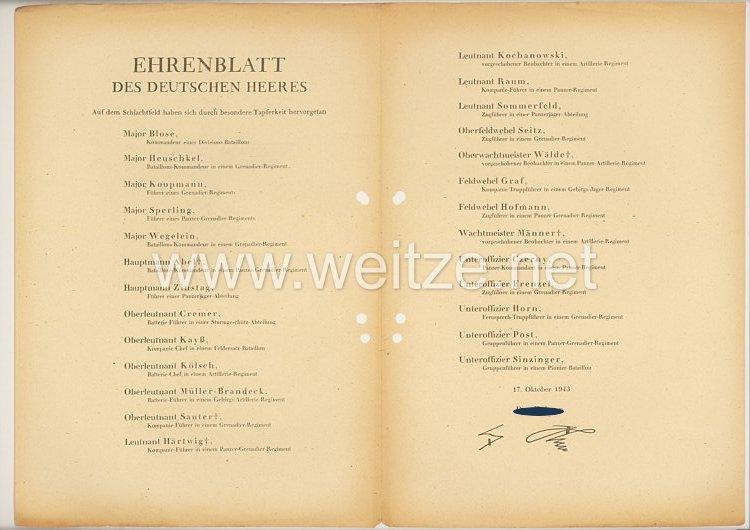 Ehrenblatt des deutschen Heeres - Ausgabe vom 17. Oktober 1943