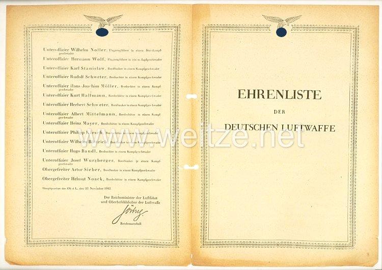 Ehrenliste der Deutschen Luftwaffe - Ausgabe vom 23. November 1942