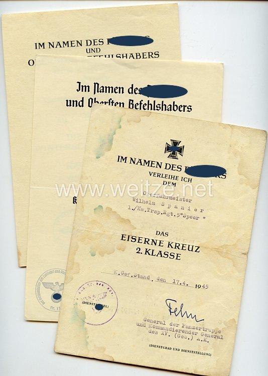 Luftwaffe - Urkundentrio für einen späteren Oberfahrmeister der 1./Kraftwagen-Transport-Regiment 5 (Speer) der Luftwaffe