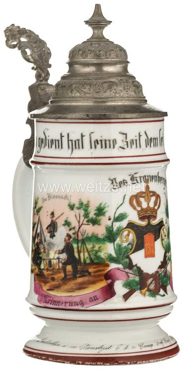 """Preußen - Reservistenkrug für den Reservisten """"Kranenberger"""" im 1. Unter-Elsässischen Infanterie-Regiment Nr. 132"""