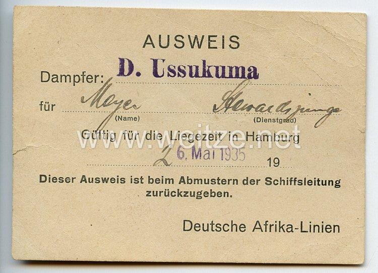 III. Reich - Deutsche Afrika-Linien - Ausweis für einen Stewardjungen