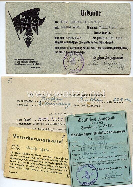 DJ / HJ - Dokumentengruppe für einen Jungen des Jahrgangs 1924 aus Bülkau