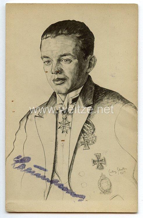 1. Weltkrieg Fliegertruppe - Faksimileunterschrift des Pour le Mérite Trägers Leutnant Arthur Laumann