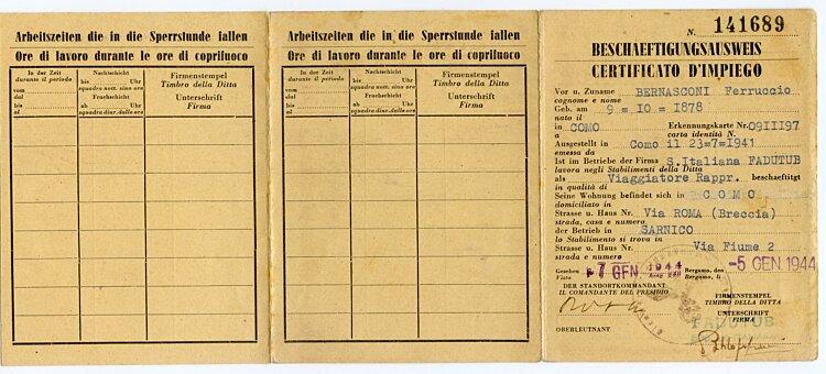 III. Reich - Beschäftigungsausweis für einen Mann in Italien