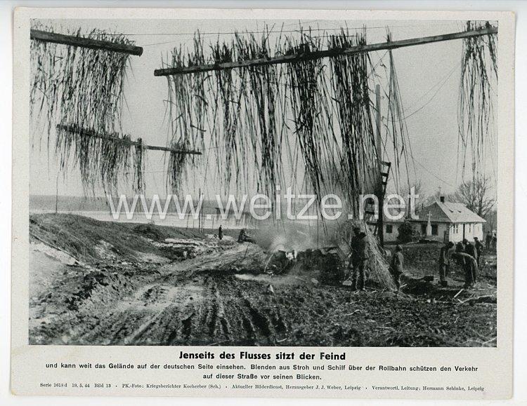 """III. Reich - gedrucktes Pressefoto """" Jenseits des Flusses sitzt der Feind """" 19.5.1944"""