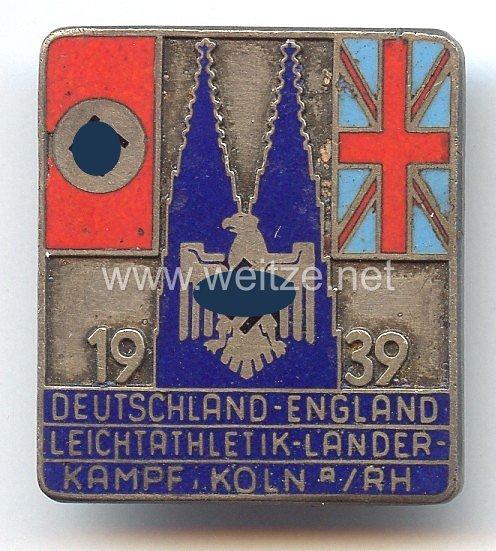 """III. Reich - offizielles tragbares Teilnehmerabzeichen """" Deutschland-England Leichtathletik Länderkampf - Köln am Rhein 1939 """""""