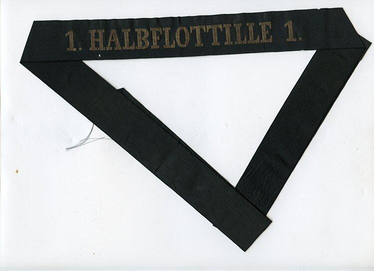 """Reichsmarine Mützenband """"1. Halbflottille 1."""""""